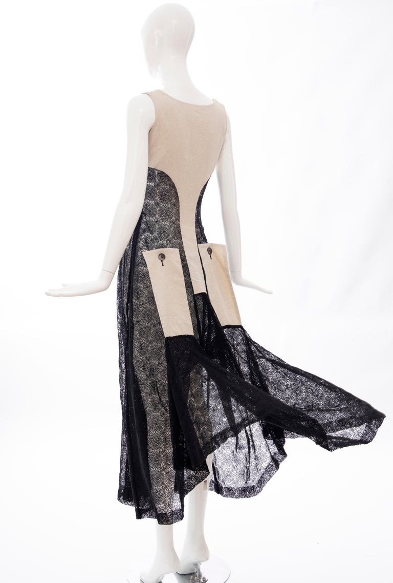 Yohji Yamamoto Runway Black Cotton Lace & Natural Linen Dress, Spring 2005 For Sale 10