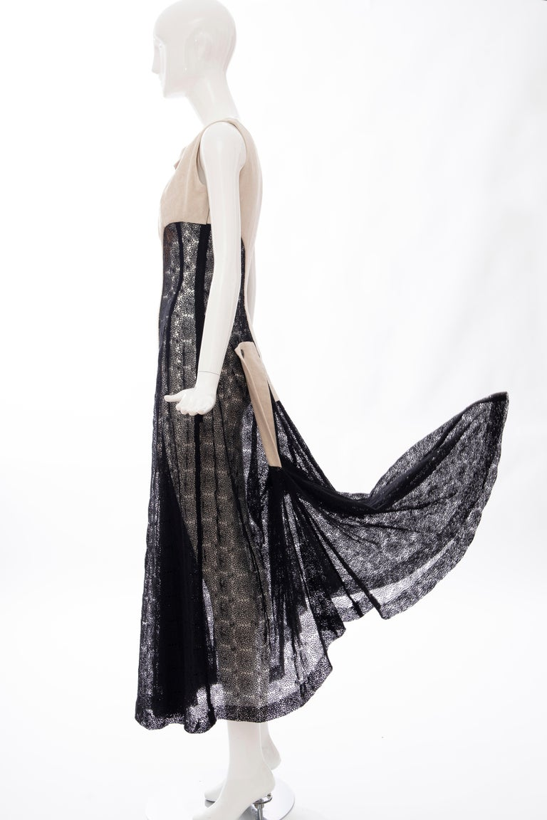 Yohji Yamamoto Runway Black Cotton Lace & Natural Linen Dress, Spring 2005 For Sale 11
