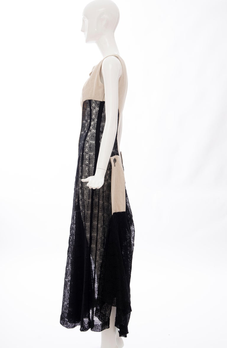 Yohji Yamamoto Runway Black Cotton Lace & Natural Linen Dress, Spring 2005 For Sale 12