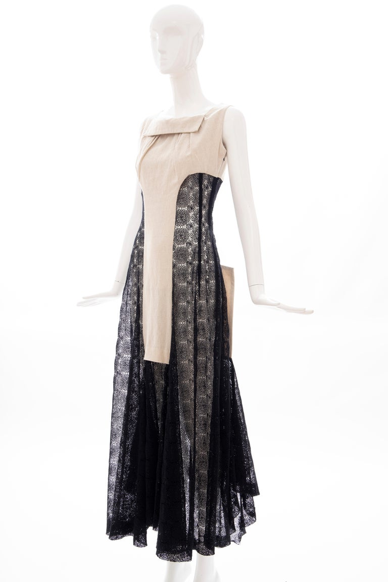 Yohji Yamamoto Runway Black Cotton Lace & Natural Linen Dress, Spring 2005 For Sale 13