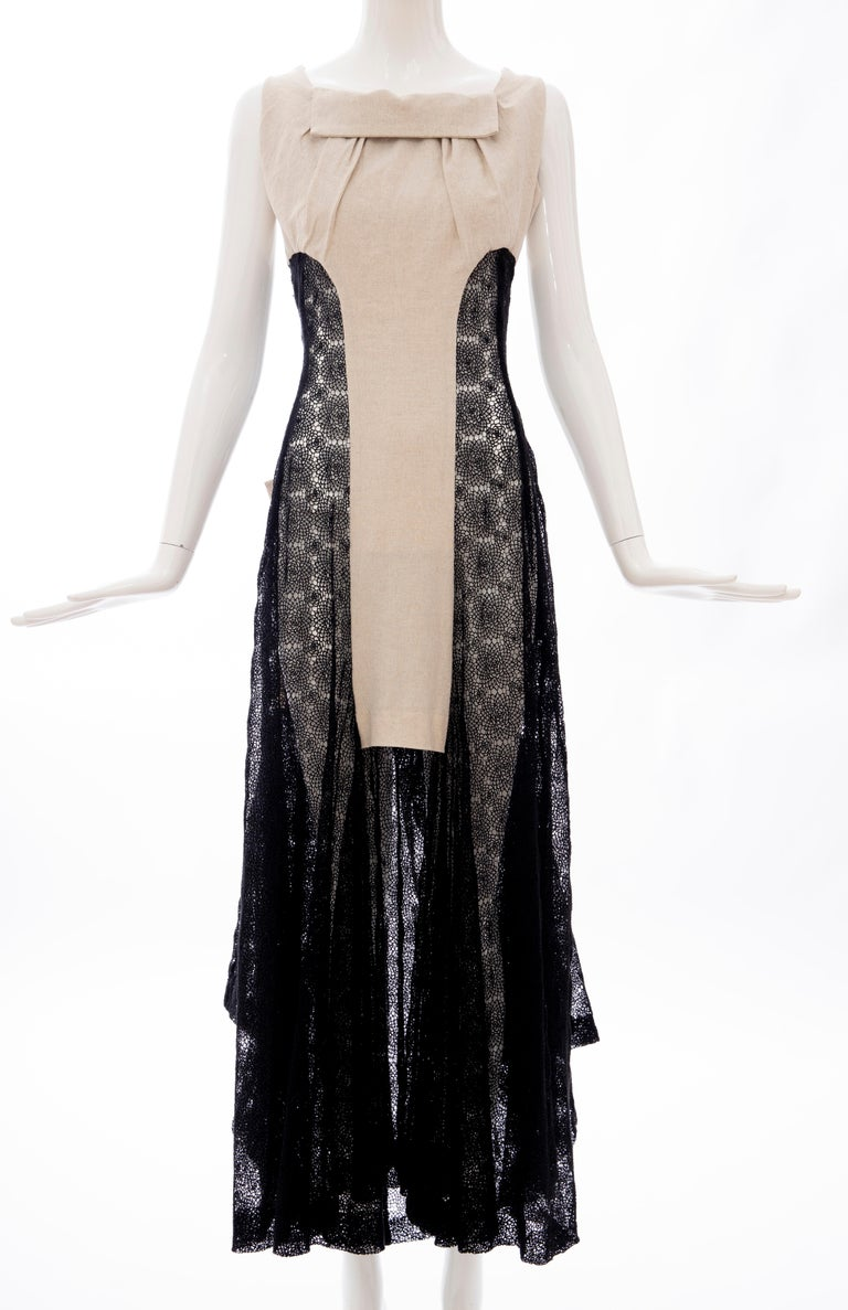 Yohji Yamamoto Runway Black Cotton Lace & Natural Linen Dress, Spring 2005 In Excellent Condition For Sale In Cincinnati, OH