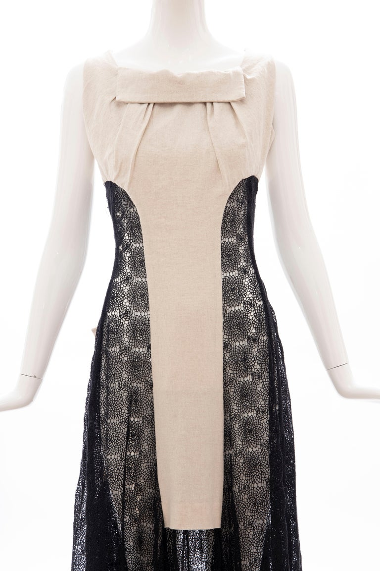 Women's Yohji Yamamoto Runway Black Cotton Lace & Natural Linen Dress, Spring 2005 For Sale