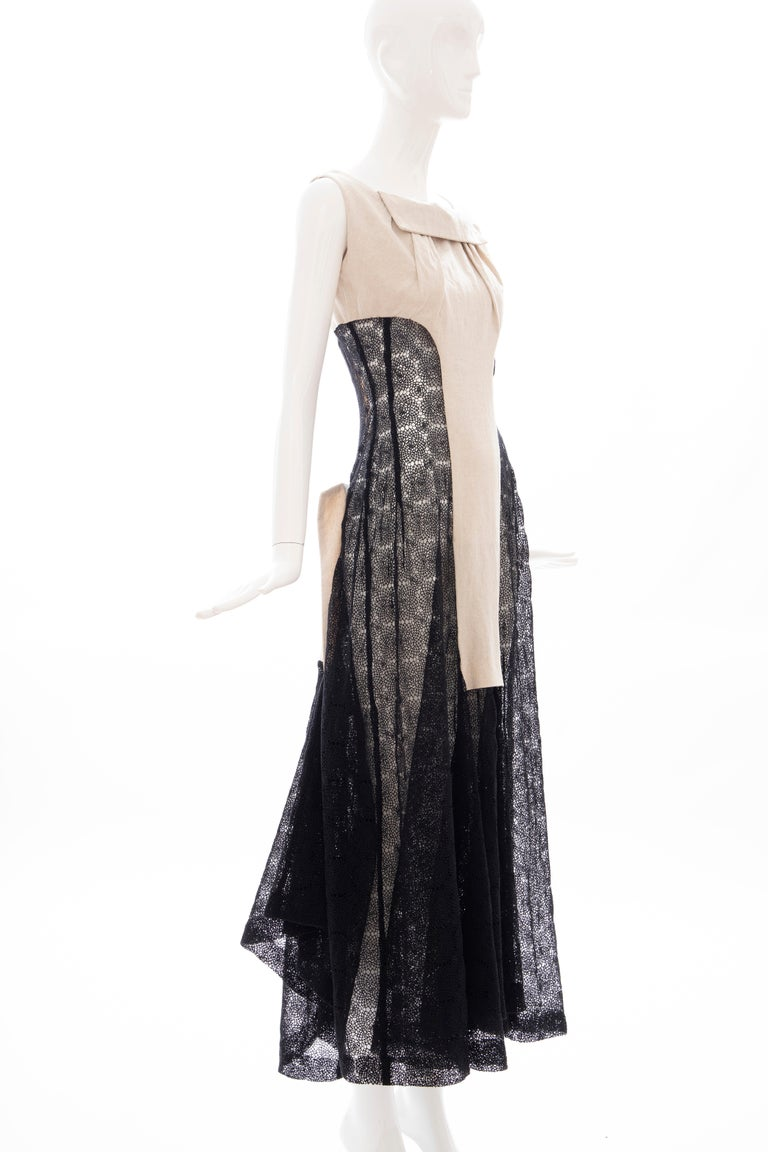 Yohji Yamamoto Runway Black Cotton Lace & Natural Linen Dress, Spring 2005 For Sale 1