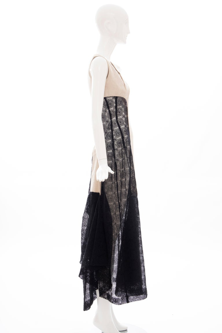 Yohji Yamamoto Runway Black Cotton Lace & Natural Linen Dress, Spring 2005 For Sale 2