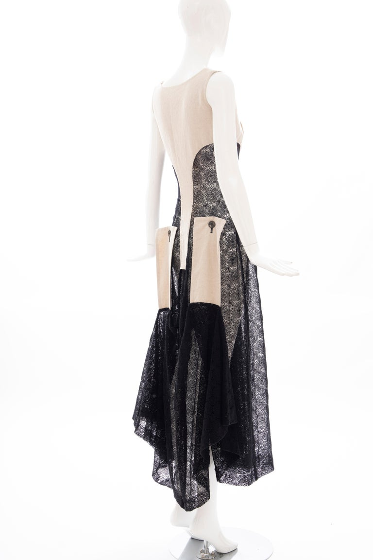 Yohji Yamamoto Runway Black Cotton Lace & Natural Linen Dress, Spring 2005 For Sale 3