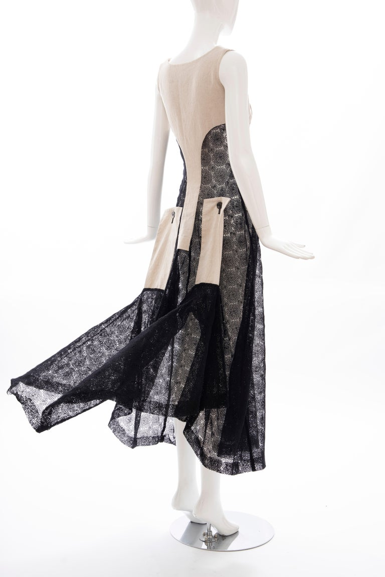 Yohji Yamamoto Runway Black Cotton Lace & Natural Linen Dress, Spring 2005 For Sale 4