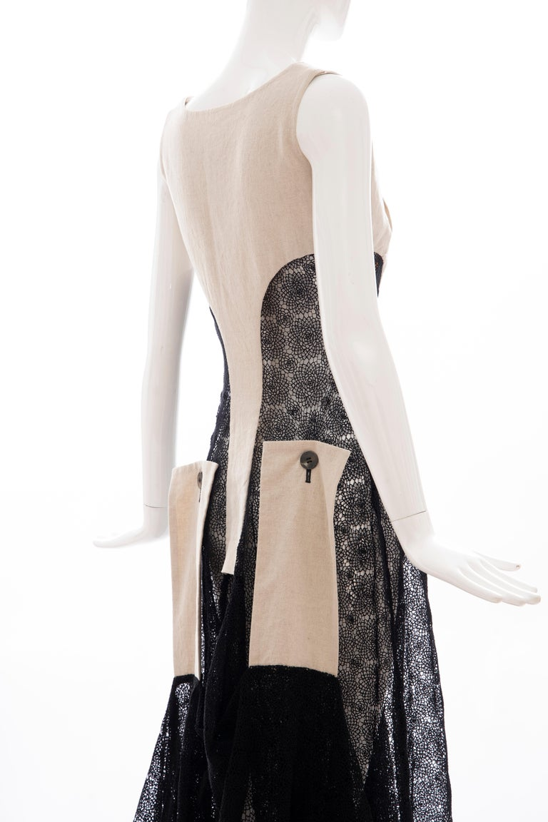 Yohji Yamamoto Runway Black Cotton Lace & Natural Linen Dress, Spring 2005 For Sale 5