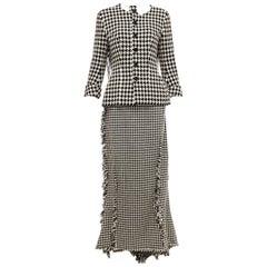 Yohji Yamamoto Runway Black Wool Angora Nylon Houndstooth Skirt-Suit, Fall 2003