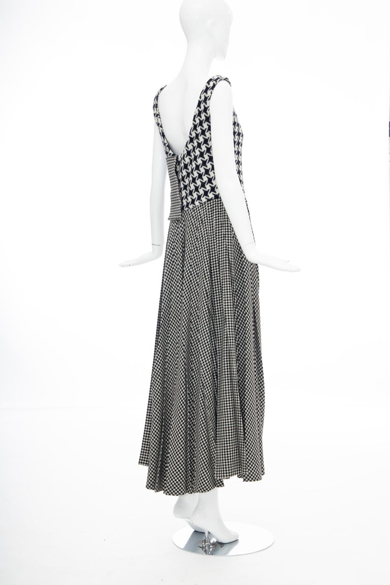 Yohji Yamamoto Runway Wool Navy Black Houndstooth Sleeveless Dress, Fall 2003 For Sale 6
