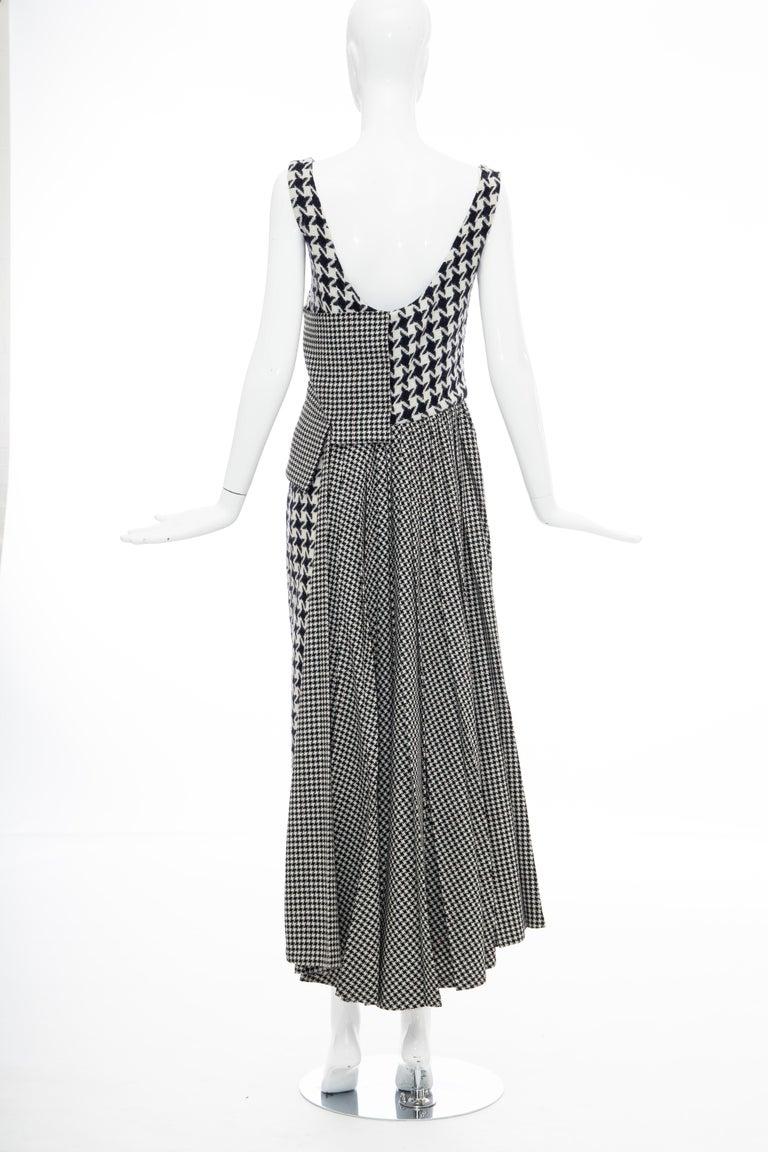 Yohji Yamamoto Runway Wool Navy Black Houndstooth Sleeveless Dress, Fall 2003 For Sale 8