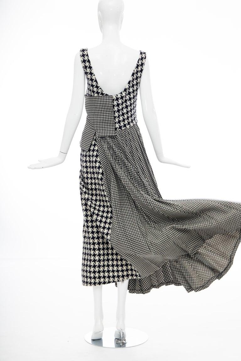 Yohji Yamamoto Runway Wool Navy Black Houndstooth Sleeveless Dress, Fall 2003 For Sale 10
