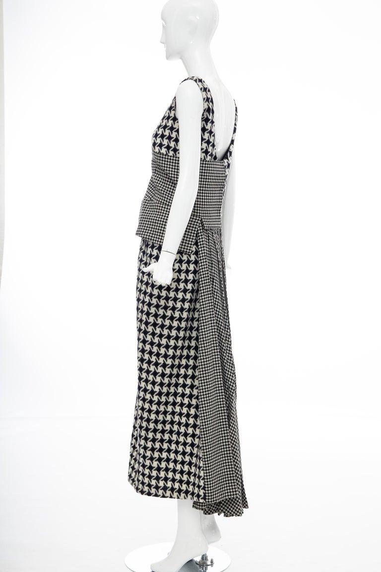 Yohji Yamamoto Runway Wool Navy Black Houndstooth Sleeveless Dress, Fall 2003 For Sale 11