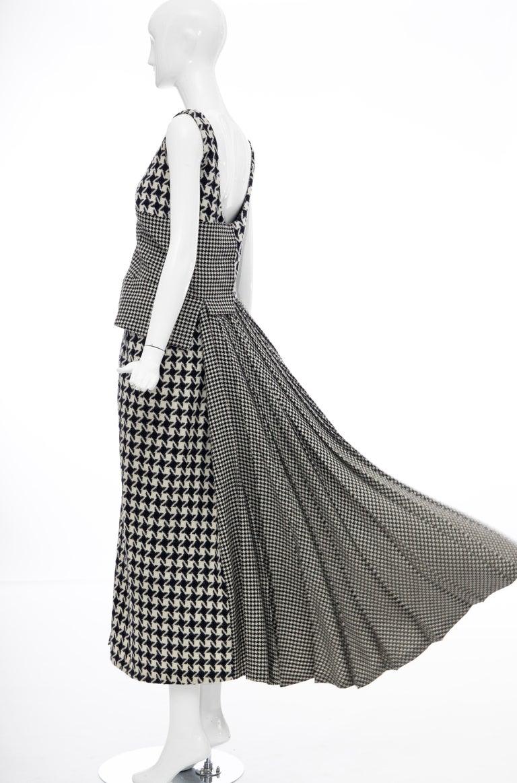 Yohji Yamamoto Runway Wool Navy Black Houndstooth Sleeveless Dress, Fall 2003 For Sale 12