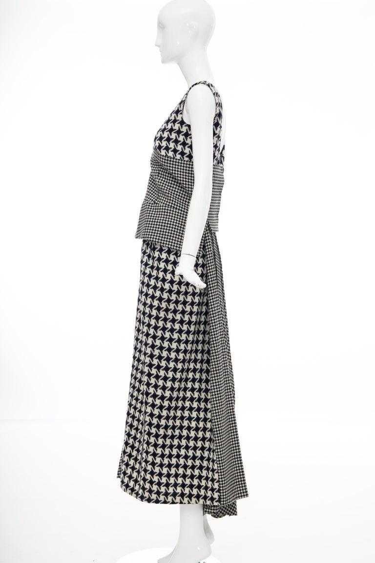 Yohji Yamamoto Runway Wool Navy Black Houndstooth Sleeveless Dress, Fall 2003 For Sale 13