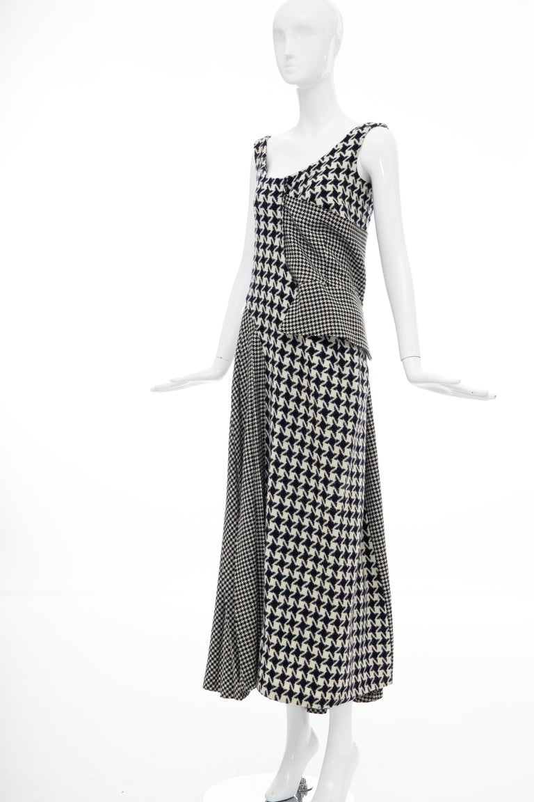 Yohji Yamamoto Runway Wool Navy Black Houndstooth Sleeveless Dress, Fall 2003 For Sale 14