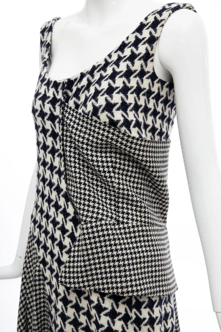 Yohji Yamamoto Runway Wool Navy Black Houndstooth Sleeveless Dress, Fall 2003 For Sale 15