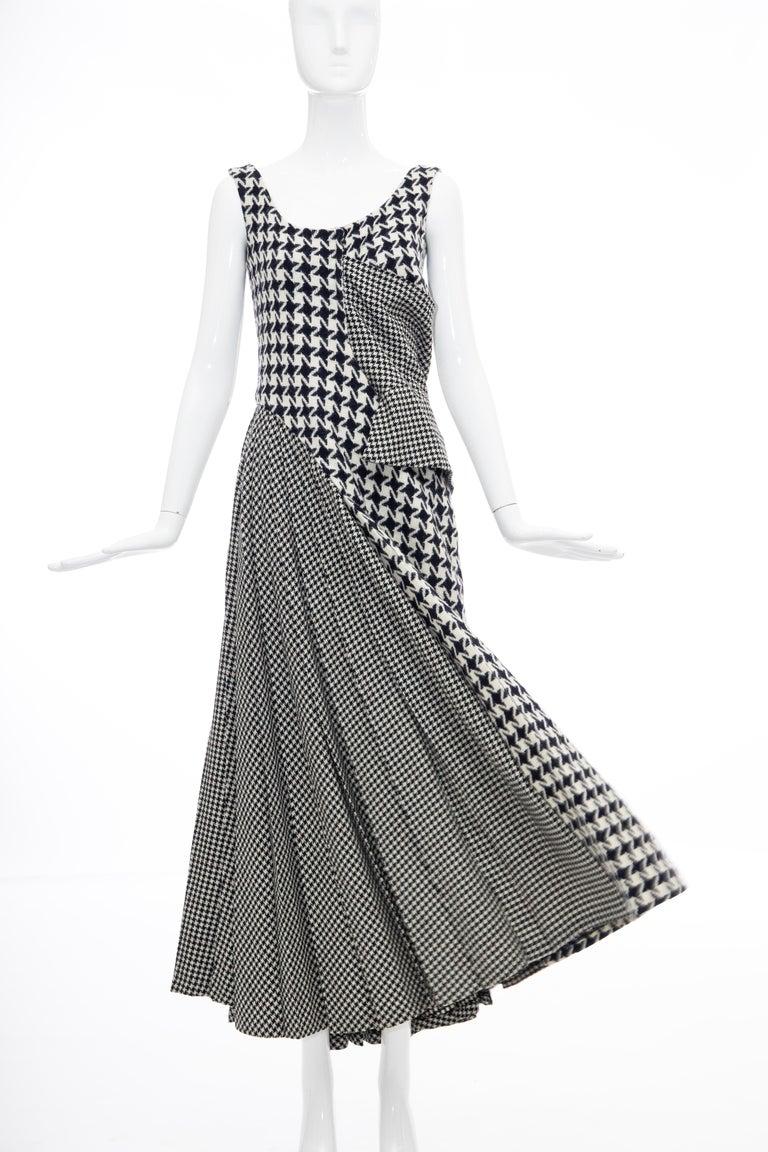 Yohji Yamamoto Runway Wool Navy Black Houndstooth Sleeveless Dress, Fall 2003 For Sale 1