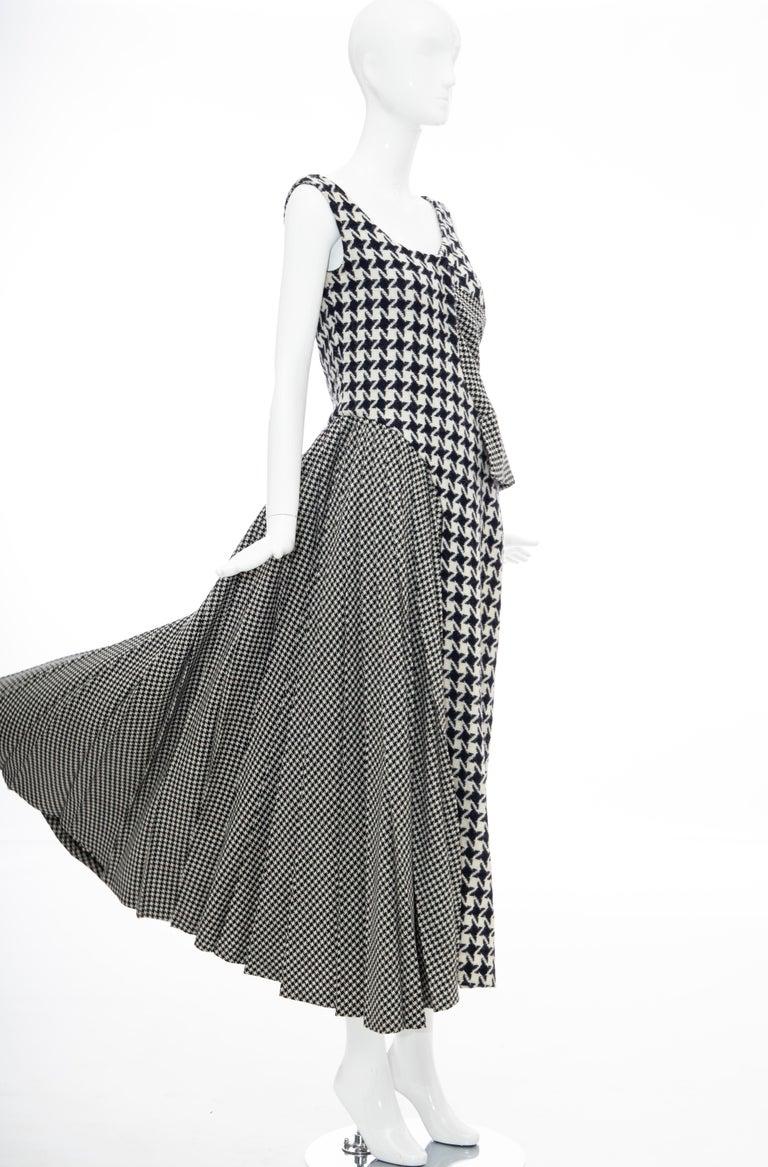 Yohji Yamamoto Runway Wool Navy Black Houndstooth Sleeveless Dress, Fall 2003 For Sale 4