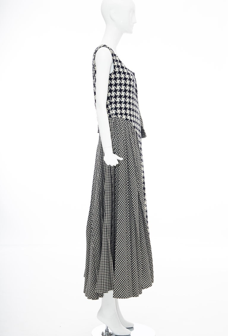 Yohji Yamamoto Runway Wool Navy Black Houndstooth Sleeveless Dress, Fall 2003 For Sale 5