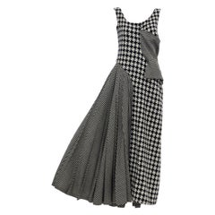 Yohji Yamamoto Runway Wool Navy Black Houndstooth Sleeveless Dress, Fall 2003