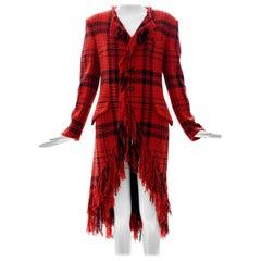 Yohji Yamamoto Runway Wool Nylon Tartan Button Front Fringed Jacket, Fall 2003