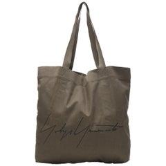 YOHJI YAMAMOTO Signature logo black print green recycle fabric casual tote bag