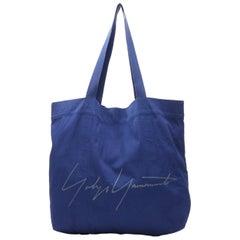 YOHJI YAMAMOTO Signature logo grey print blue fabric casual tote bag