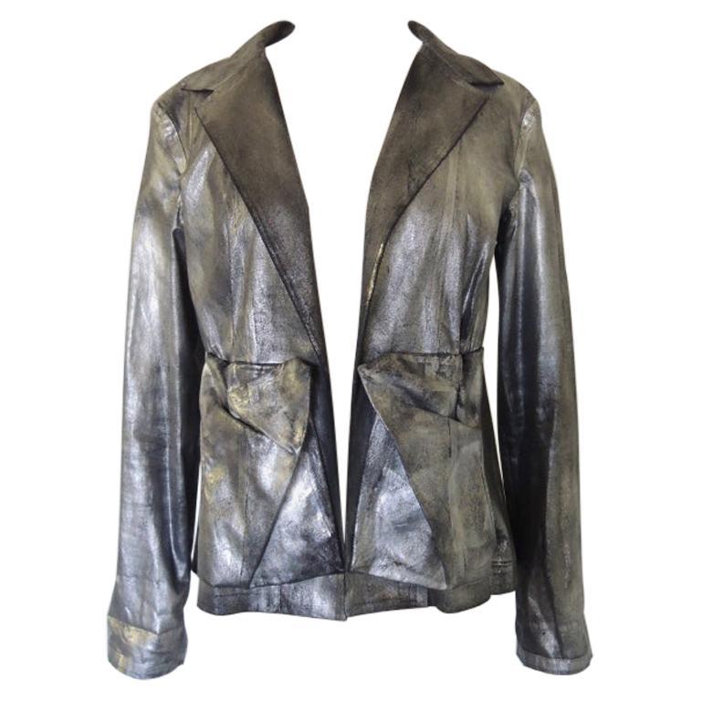 Yohji Yamamoto Silver Metallic Spray Paint Jacket