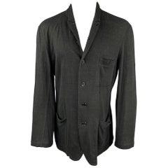 YOHJI YAMAMOTO Size L Black Knitted Linen Buttoned Jacket