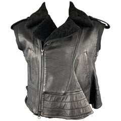 YOHJI YAMAMOTO Size M Black Leather Sheep Skin Vest