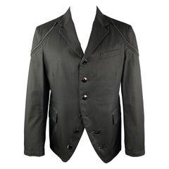 YOHJI YAMAMOTO Size S Black Cotton Zip Shoulder Button Sport Coat