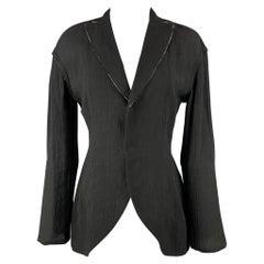 YOHJI YAMAMOTO Size S Black Wrinkled Rayon / Linen Jacket