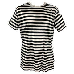 YOHJI YAMAMOTO Size XL Black & White Stripe Cotton / Rayon Short Sleeve T-shirt