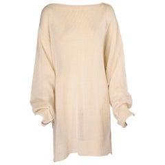 Yohji Yamamoto White Sweater Dress with Multiple Interesting Zippers