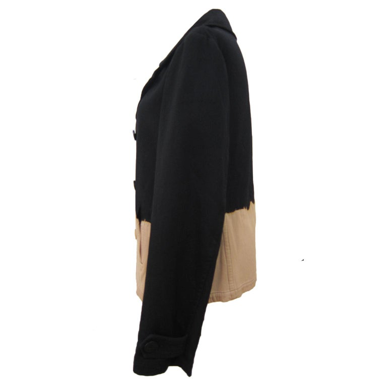 Yohji Yamamoto Y's Bleach Black Beige Jacket Blazer  In Good Condition For Sale In Berlin, DE