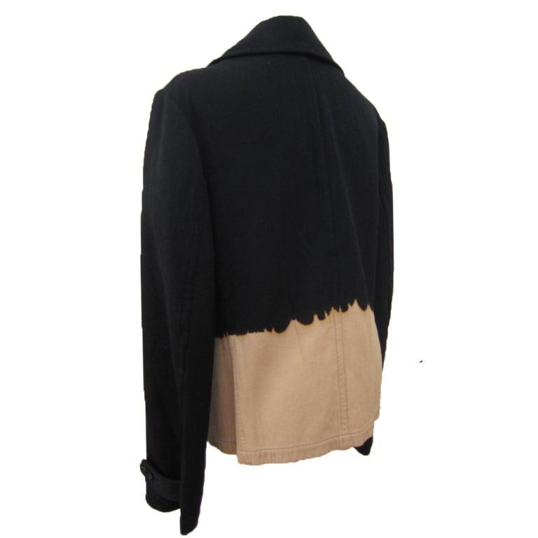 Women's Yohji Yamamoto Y's Bleach Black Beige Jacket Blazer  For Sale