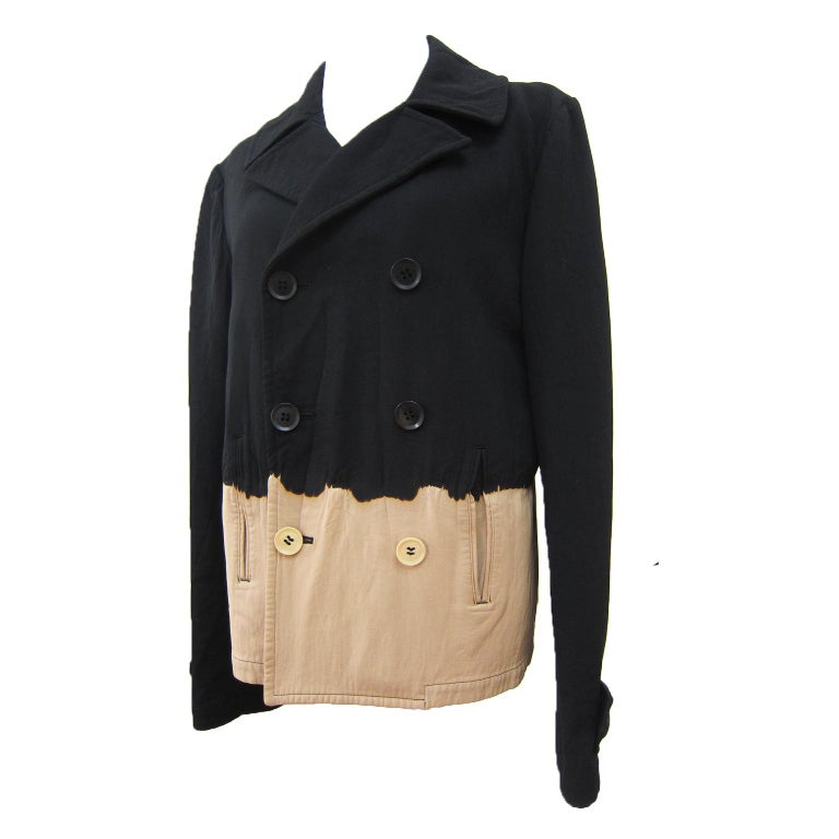 Yohji Yamamoto Y's Bleach Black Beige Jacket Blazer  For Sale