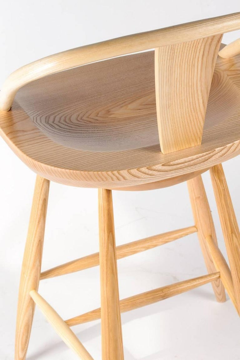 Contemporary Yoke-Back Swivel Barstool in Ash For Sale