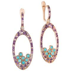 Yoki Amethyst Turquoise Sapphire Diamond Rose Gold Drop Earring