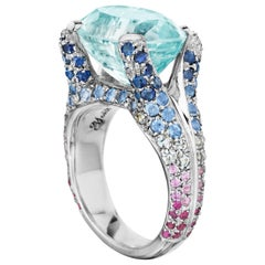 Yoki Aquamarine with Pink, Blue, and White Sapphire White Gold Ring