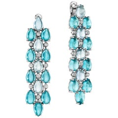 Yoki Blue Topaz and Diamond White Gold Drop Earring