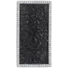 Yoki Carved Onyx Diamond White Gold Brooch-Pendant