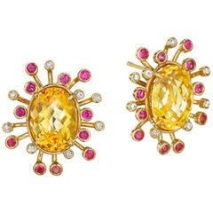 Yoki Citrine Pink Sapphire Diamond Yellow Gold Stud Earring