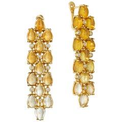 Yoki Citrine and Diamond Yellow Gold Drop Earring