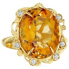 Yoki Citrine Diamond Yellow Gold Ring