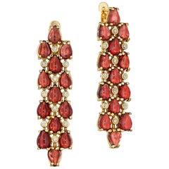 Yoki Garnet and Diamond Yellow Gold Drop Earring