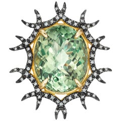 Yoki Green Amethyst Diamond Blackened Yellow Gold Brooch-Pendant