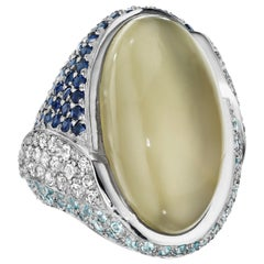 Yoki Grey Moonstone Sapphire Aquamarine White Gold Ring