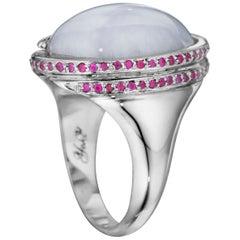 Yoki Lavender Jade Ruby White Gold Ring