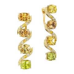 Yoki Mismatched Mixed Natural Zircon Sapphire Diamond Yellow Gold Drop Earring